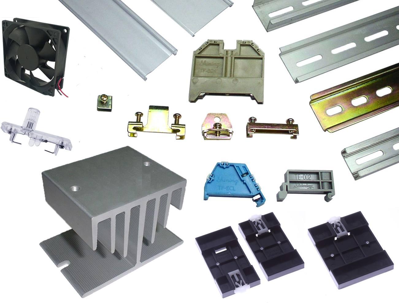 零件 - Din Mount Rail & End Clamp Bracket & Power Failure Indicator & Din Rail Adapter & Heat Sink and Fan