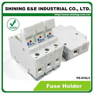 FS-033L3 Din монтиран релсов 10x38 RT18-32 патрон 600V 32A 3-полюсен държач за предпазители - FS-033L3 10x38 RT18-32 600V 32A 3-полюсен държач за предпазители