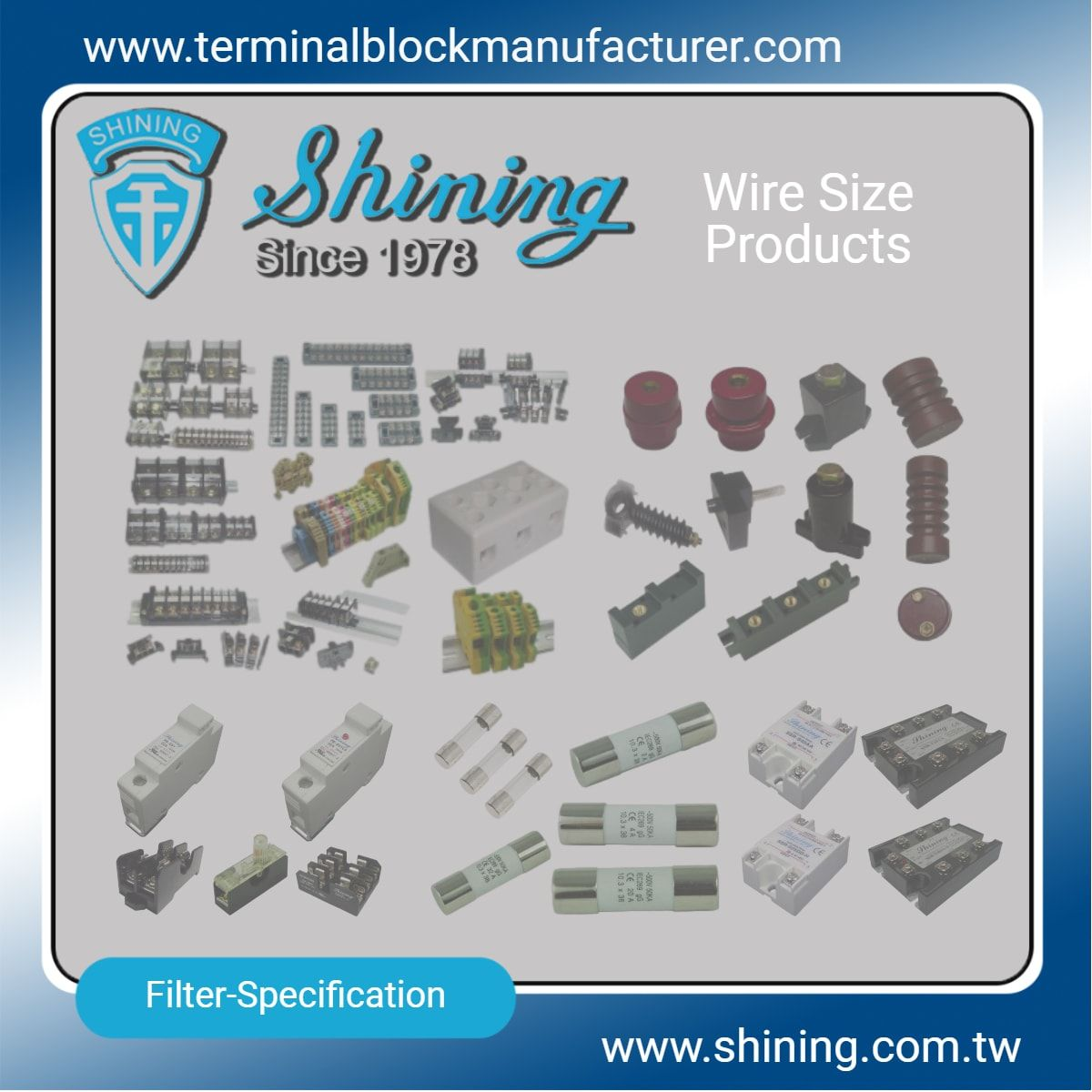 Wire Size Products - Terminal Blocks|Solid State Relay|Fuse Holder|Insulators -SHINING E&E