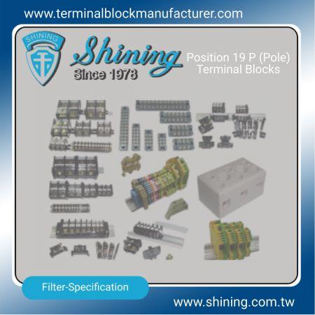 19 P (pól) svorkovnice - 19 koncových blokov P (pól) | Polovodičové relé | Držiak poistky | Izolátory -SHINING E&E