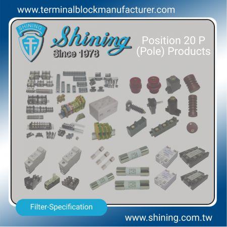 20 produktov P (pól) - Svorkovnice 20 P (pól) | Polovodičové relé | Držiak poistky | Izolátory -SHINING E&E