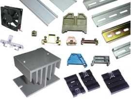 ဆက်စပ်ပစ္စည်းများ - Din Mount Rail & End Clamp Bracket & Power Failure Indicator & Din Rail Adapter & Heat Sink and Fan အားအချက်ပြပါ
