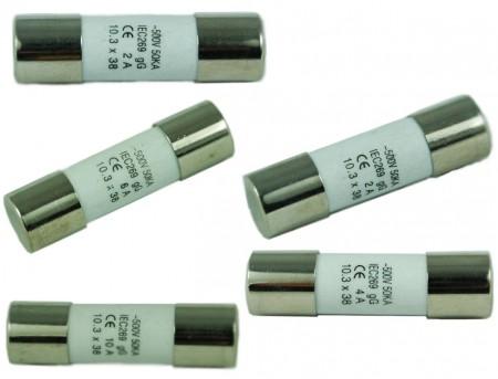 F-1038C-XX系列500V 10x38 陶瓷管保险丝 - F-1038C-XX系列500V 10x38 陶瓷管保险丝