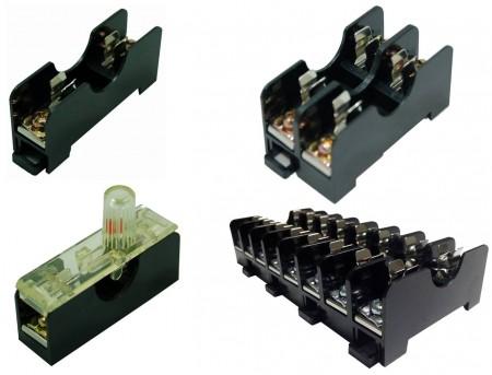 FS-01XB系列6x30 600V 10A 35mm 轨道式保险丝盒 - FS-011B & FS-012B & FS-018B 6x30 600V 10A 35mm 轨道式保险丝盒