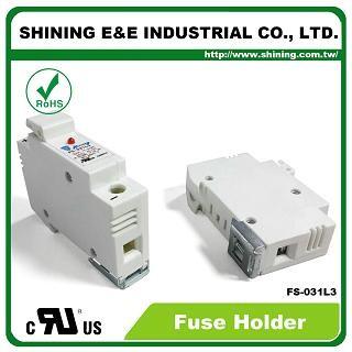 FS-031L3 Din монтиран релсов 10x38 RT18-32 патрон 600V 32A 1 полюсен предпазител - FS-031L3 10x38 RT18-32 600V 32A 1 полюсен държач за предпазители