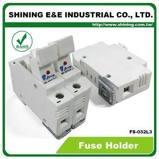 Portafusibili FS-032L3 10x38 RT18-32 montati su guida DIN 600V 32A 2 portafusibili