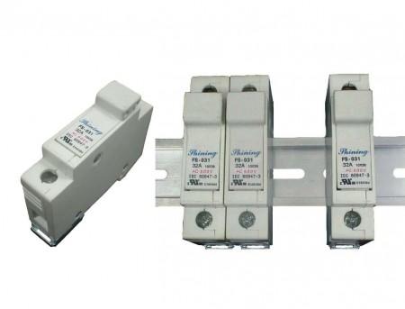 FS-03X系列10x38 RT18-32 600V 32A 轨道式保险丝座 - FS-031 & FS-032 轨道式保险丝座
