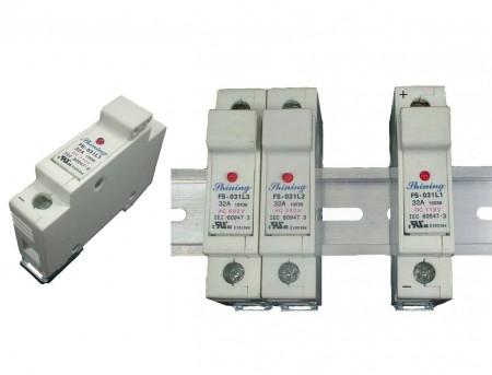 FS-03XL1系列10x38 RT18-32 600V 32A 轨道式保险丝座 - FS-031L1 & FS-032L1 10x38 轨道式保险丝座
