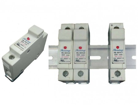 FS-03XL2系列10x38 RT18-32 600V 32A 轨道式保险丝座 - FS-031L2 & FS-032L2 轨道式保险丝座