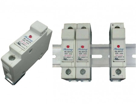 FS-03XL3系列10x38 RT18-32 600V 32A 轨道式保险丝座 - FS-031L3 & FS-032L3 轨道式保险丝座