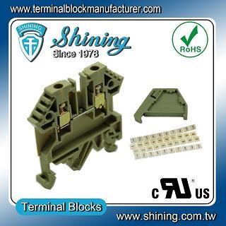 4 mm² DIN Rail Mount Terminal Block 26 AWG Grounding 2 Ways Screw 12 AWG