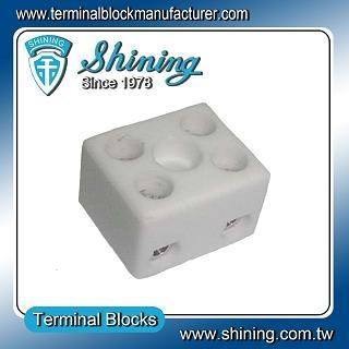 TC-202-A Panel Mounted 600V 20A 2 Pole Ceramic Terminal Block - TC-202-A 20A 2 Pole Ceramic Terminal Block