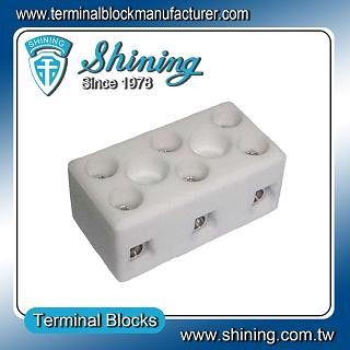 TC-203-A Panel Mounted 600V 20A 3 Pole Ceramic Terminal Block - TC-203-A 20A 3 Pole Ceramic Terminal Block