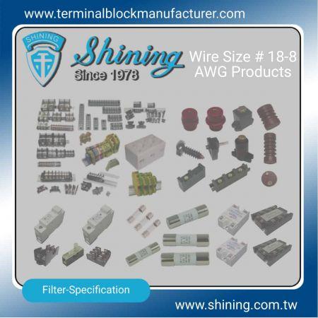 Výrobky # 18-8 AWG - Svorkovnice # 18-8 AWG | Polovodičové relé | Držiak poistky | Izolátory -SHINING E&E