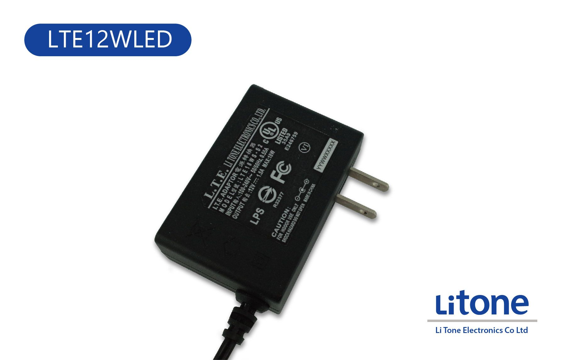 12WLED AC to DC Switching Wall Mount Type Adapter