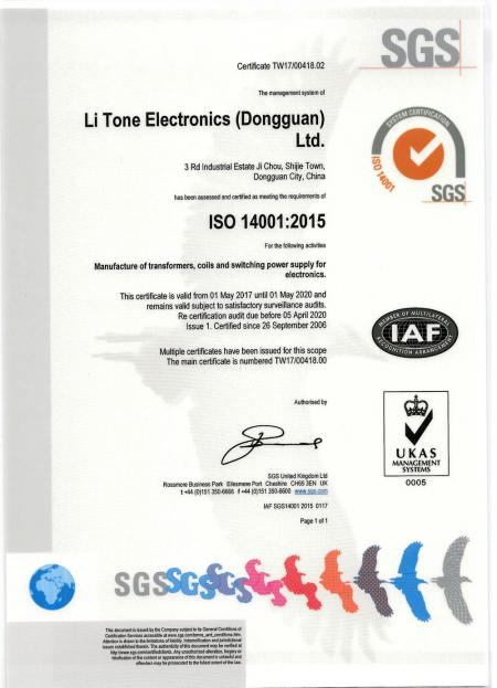 LTE ISO14001 Certificate