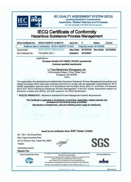 Certificato LTE QC 080000