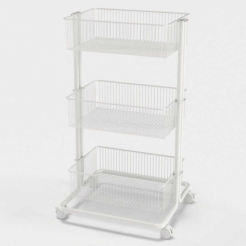 3 Tier White Utility Cart