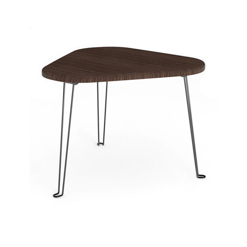 Triangle shaped wooden side table with foldable hairpin legs