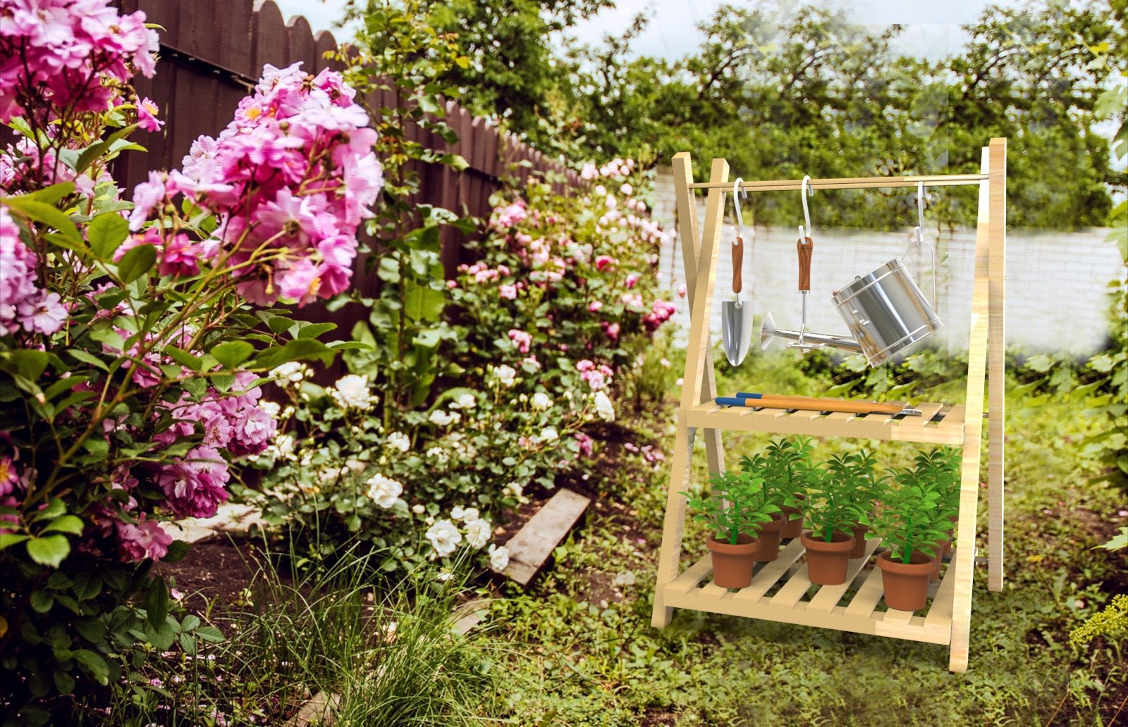 Plant Stand for Garden, Camping Shelf for Outdoor