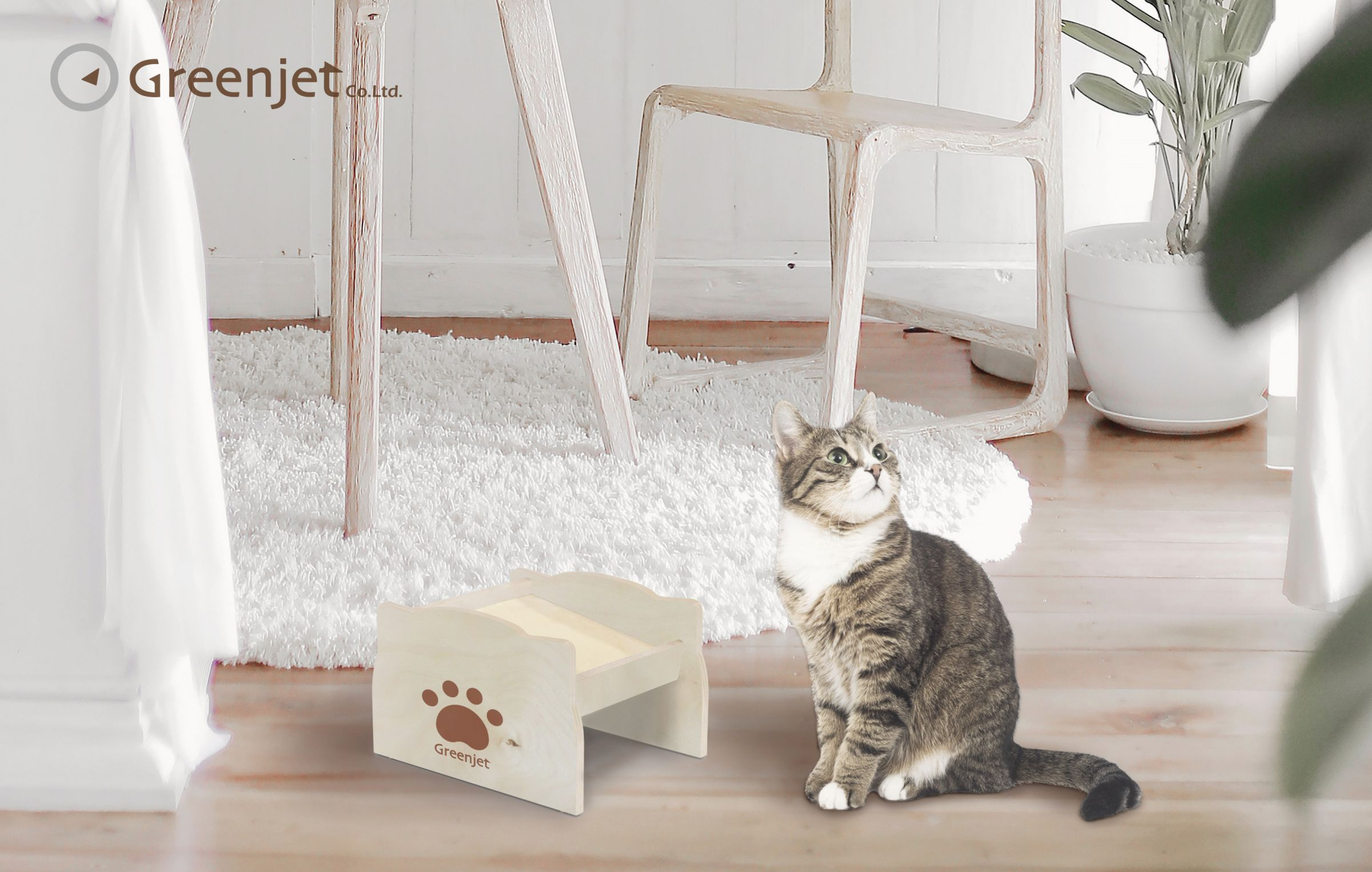 Raised Wood Feed Bowl Stand Suitable for Cats and Dogs