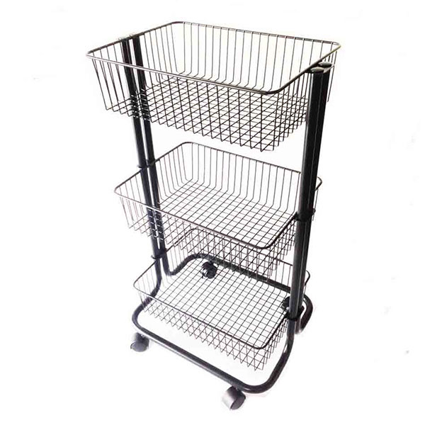 3 Tier Rolling Cart, Black