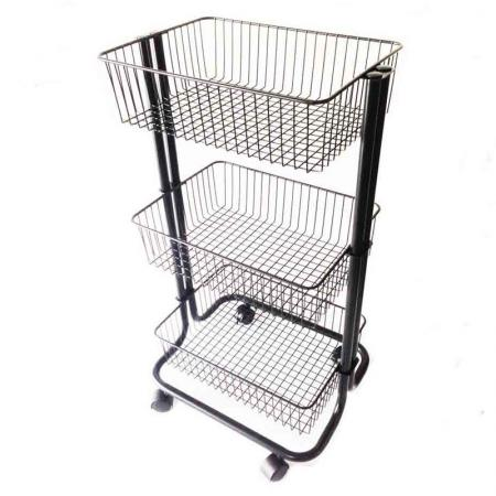 3 Tier Black Rolling Storage Cart - 3 Tier Rolling Storage Cart