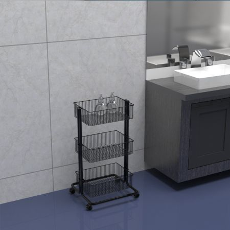 Rolling Cart next to Bathroom Counter