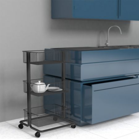 Utility Cart next to Kitchen Counter