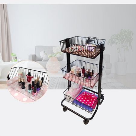 Mackup Storage Cart with Acrylic Boxes