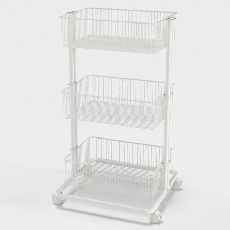 3 Tier White Rolling Utility Cart
