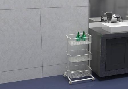 White Organizer Cart for Kitchen Utensils