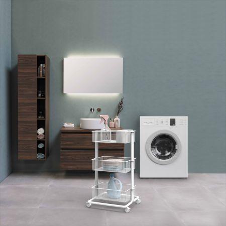 White Laundry Rolling Storage Cart