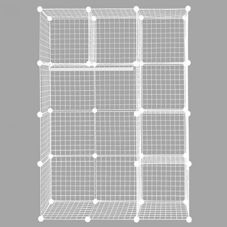 Metal Wire Cube Shelving Unit, sett med 12