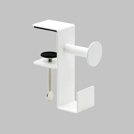 Metal Desk Headphone Hanger Mount - Desk Gaming Headphone Stand Holder,White