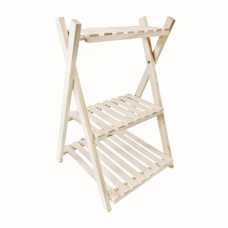 3 Tier Folding Wood Plant Stand - 3 Tier Folding Wood Plant Stand