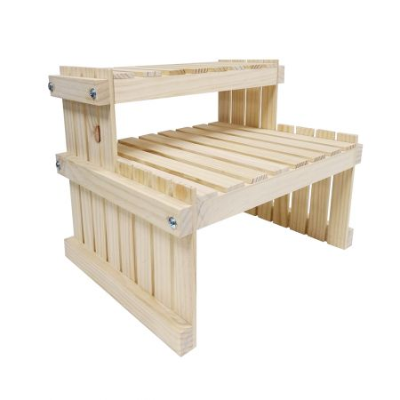 2 Tier Wood Desktop Plant Display Stand - 2 Tier Wood Desktop Plant Display Stand