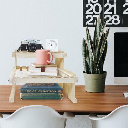 Wood Tabletop Storage Rack for Book