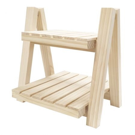 2 Tier Small Foldable Wood Plant Stand - 2 Tier Small Foldable Wood Plant Stand