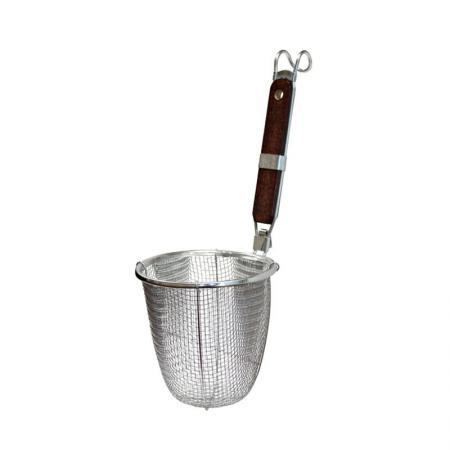 Noodle Strainer Basket with Handle - Noodle Strainer Basket with Wood Handle