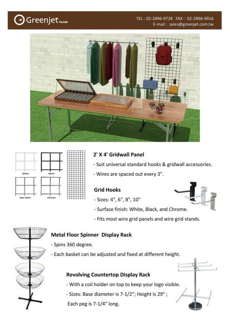 E-Katalog (Store) für Gridwall Panel, Grid Hooks, Spinner Rack, Countertop Display