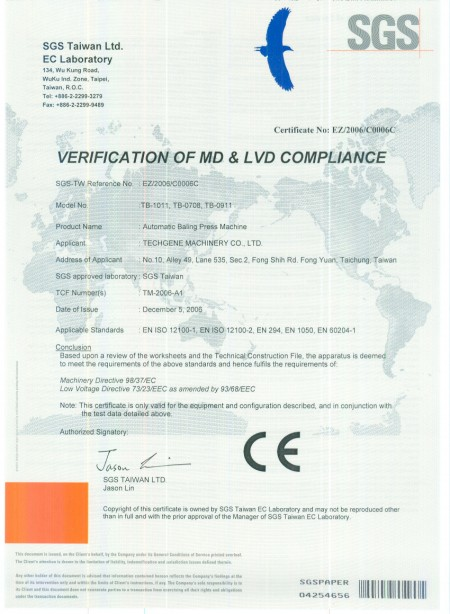 CE Certificats for balers - CE Certificate for balers