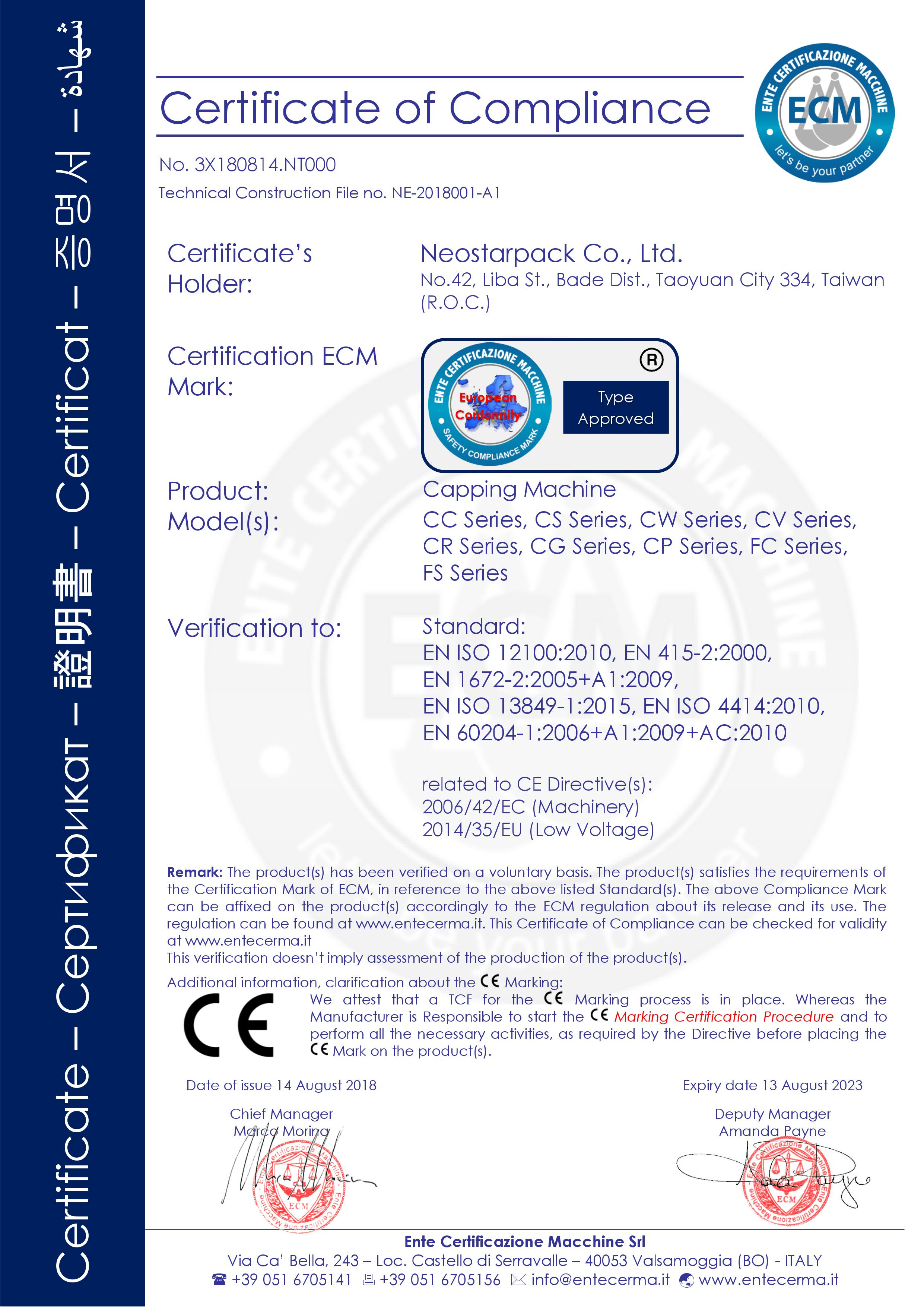 Neostarpack capping machine CE certification