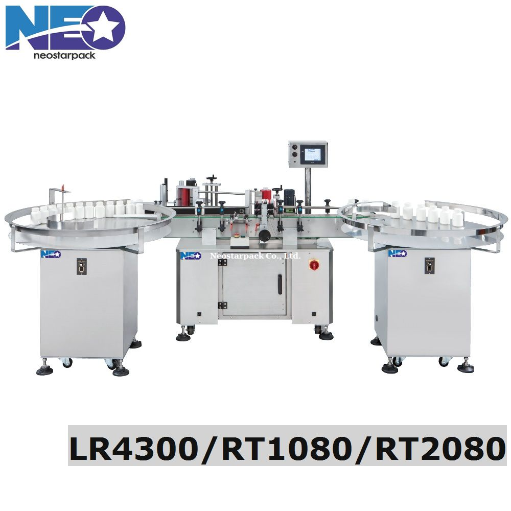 Automatic round bottle labeller with rotary table
