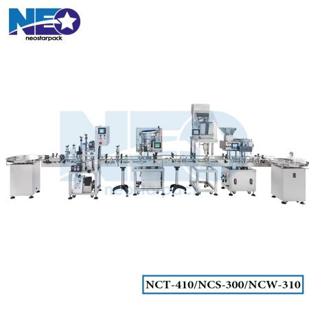 Production Line with Automatic Counting, Filling, and Capping Machines (Counting Machines, Power Filling Machines, Capping Machines, and Aluminum Foil Sealers)