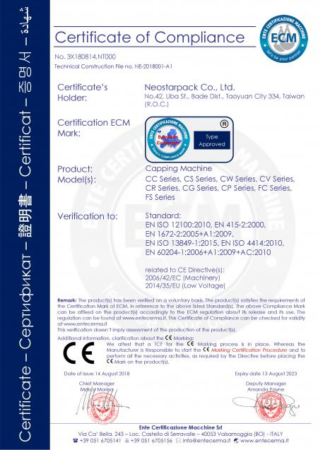 Capping machine CE certification