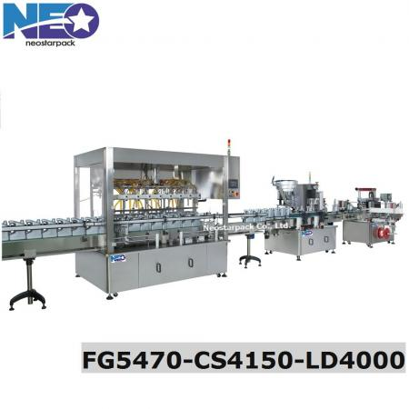Lubricant filling line fully filling capping labeling line