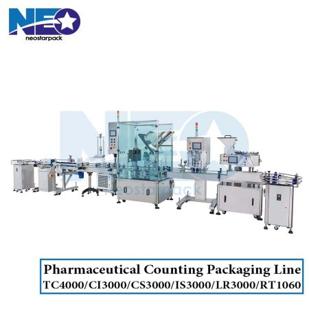 Nutraceutical and Pharmaceutical Packaging Line (Counter-Cotton Inserter-Capper-Labeller)