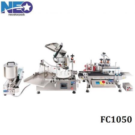 테이블 위의 자동 충전 및 캡핑 라벨링 기계 (캡핑 기계 포함)
