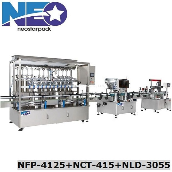 Automatic 12-Nozzle Piston Filling Capping Labeling Line